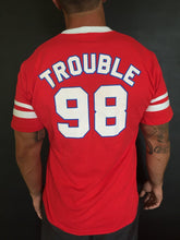 Load image into Gallery viewer, Red V-Neck Trouble T-Shirt