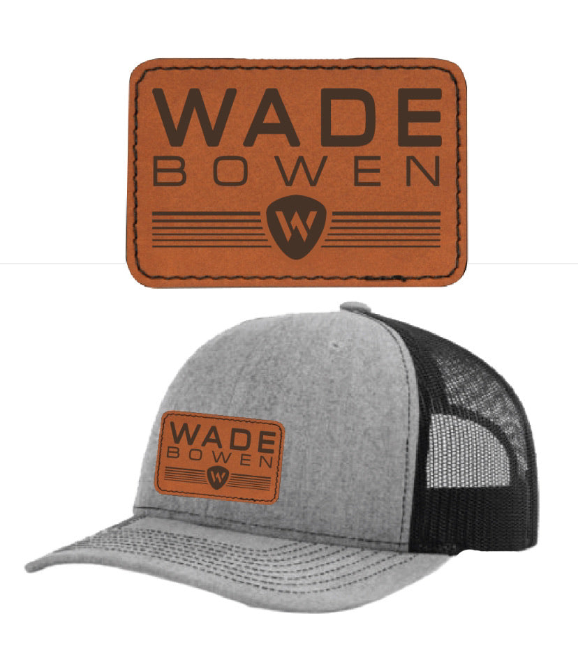 Wade Bowen Grey Leather Patch Hat - Ships July 14th
