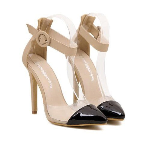 Sexy Women's Pumps With Color Block and Transparent Design