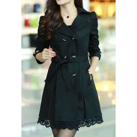 Double-Breasted Polyester Long Sleeves Trench Coat