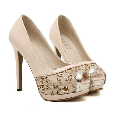 Gorgeous Women's Peep Toe Shoes With Sequins and Mesh Design