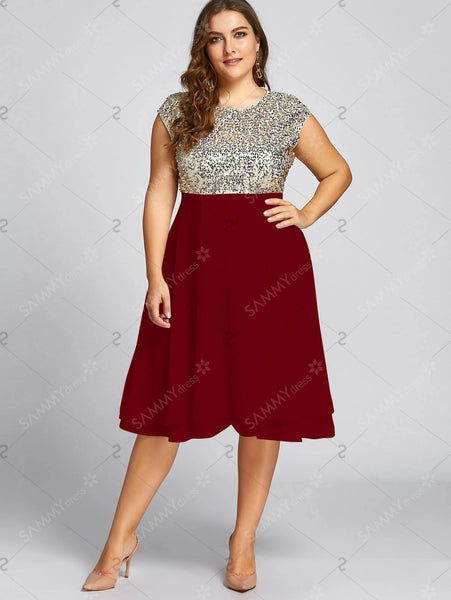 Flounce Plus Size Sequin Sparkly Cocktail Dress