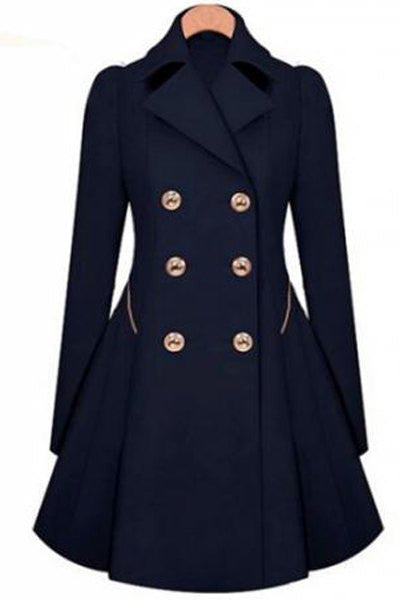 Fashionable Women's Turn-Down Collar Long Sleeve Double-Breasted Coat