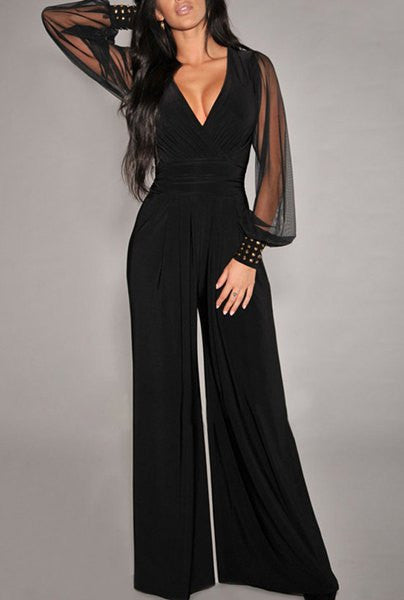 Sexy V-Neck Wide-Leg Jumpsuit