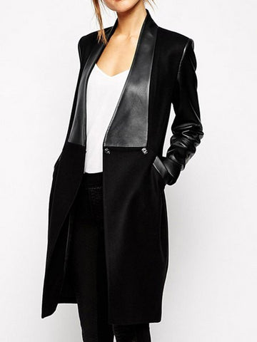 Fashionable Women's Turn-Down Collar Long Sleeve PU Leather Splicing Coat