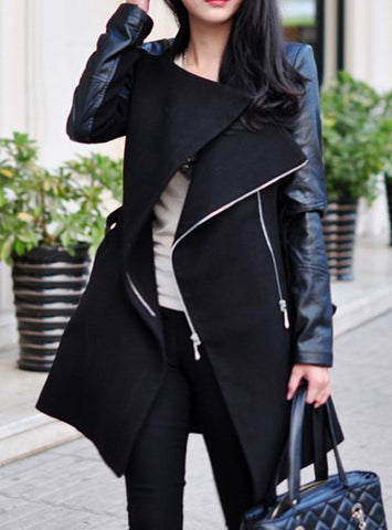 Stylish Stand-Up Collar Long Sleeve Zippered Spliced Coat