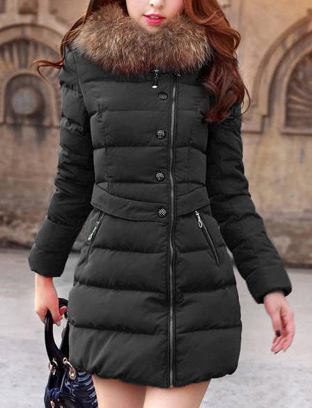 Fashionable Women's Hooded Faux Fur Embellished Solid Color Coat