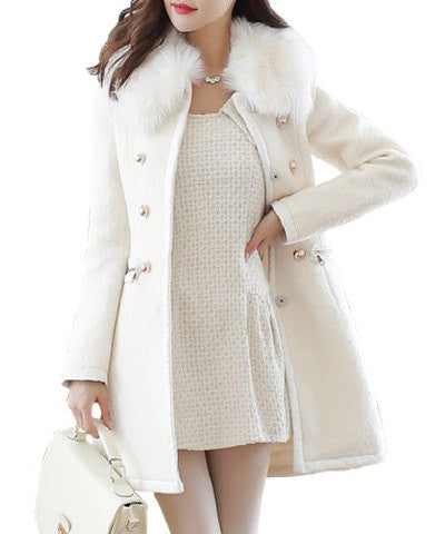Slim Fit Faux Fur Collar Long Sleeve Double-Breasted Coat