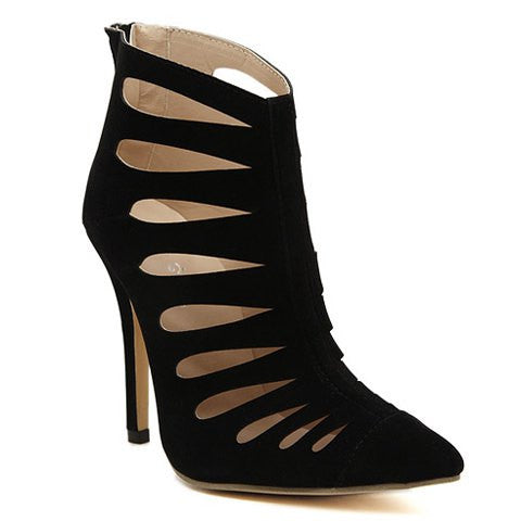 Ankle Bootie With Stiletto Heel and Hollow Out Design