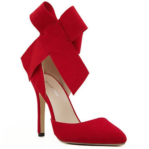 Valentin Red Pumps With Suede and Bowknot Design