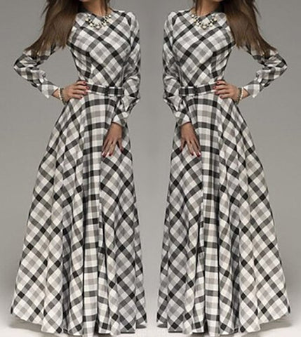 Parker Plaid Long Sleeve Dress