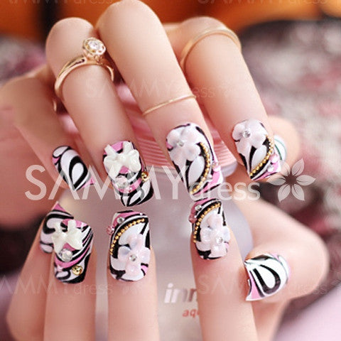24 PCS Stylish Flower Bow Bead Rhinestone Embellished Impressional Nail Art False Nails
