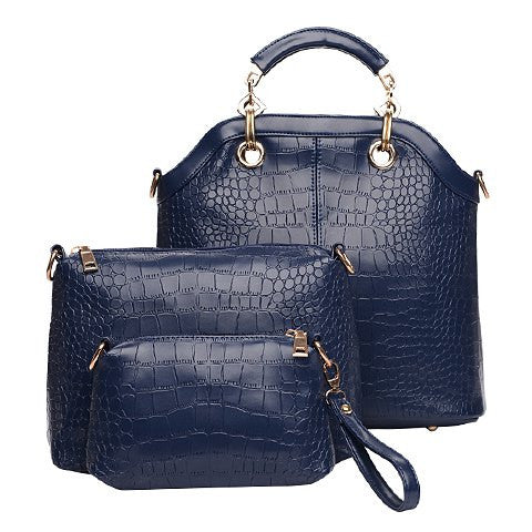 Faye Crocodile Three Piece Handbag Set