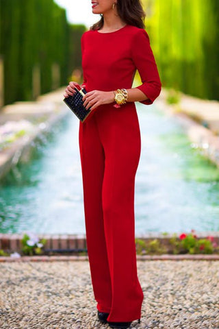 Three-Quarter Sleeve Round Neck Backless Solid Color Jumpsuit