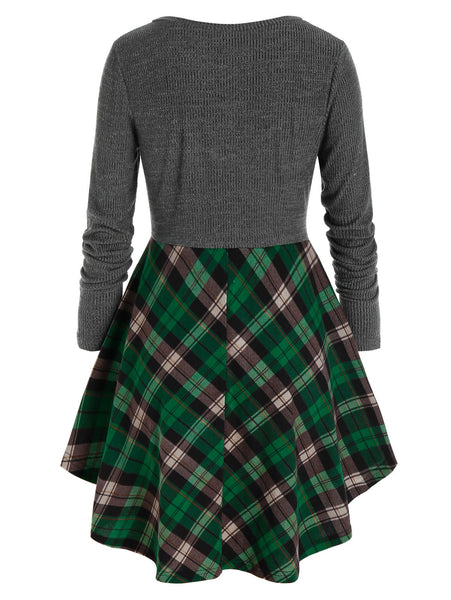 Plaid Contrast Mixed-Media Long Sweater