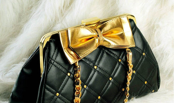New Arrival Rhombus Embossing and Bowknot Embellished One-Shoulder Bag