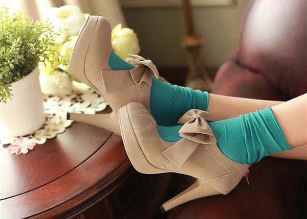 Women's Pumps With Suede Solid Color and Bow Design