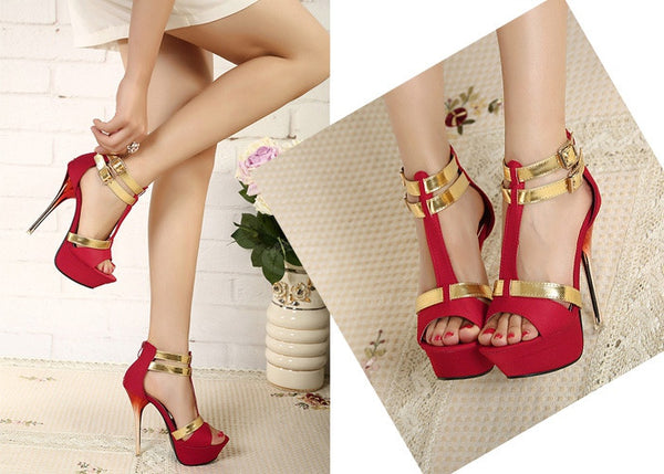 Trendy Style Women's Sandals With Stiletto Heel and Double Buckle Design
