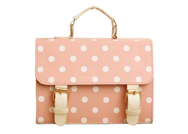 Vintage Style Women's Tote Bag With Buckle and Polka Dot Design
