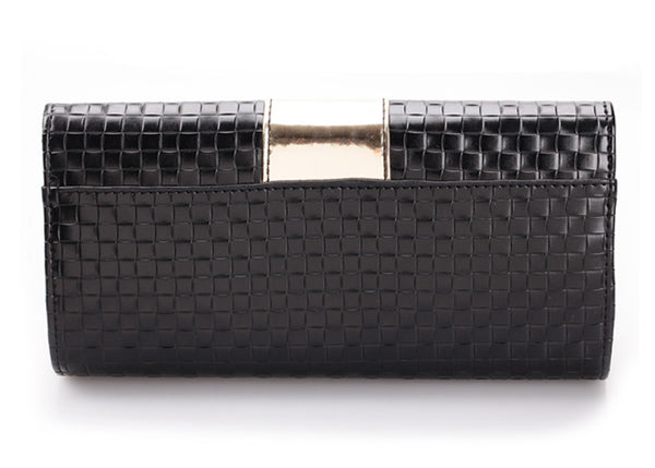 June Clutch with Metal and Color Splice Design