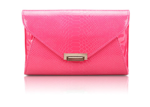 Rosie Career Women's Clutch With Solid Color and Patent Leather Design