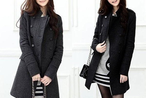 Stylish Double-Breasted Epaulet Embellished Long Sleeves Slimming Overcoat