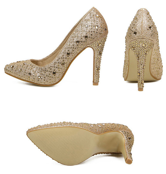 Trendy Women's Pumps With Rhinestones and Pointed Toe Design