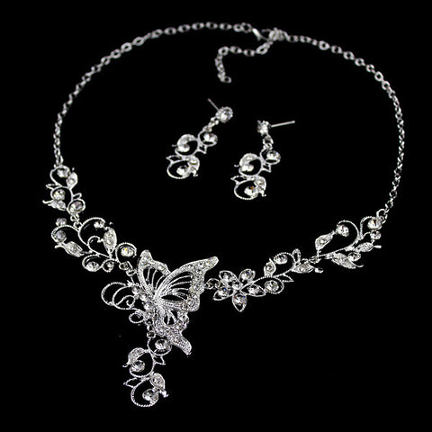 Exquisite Diamante Butterfly Pendant Flower Embellished Necklace and Earrings For Women