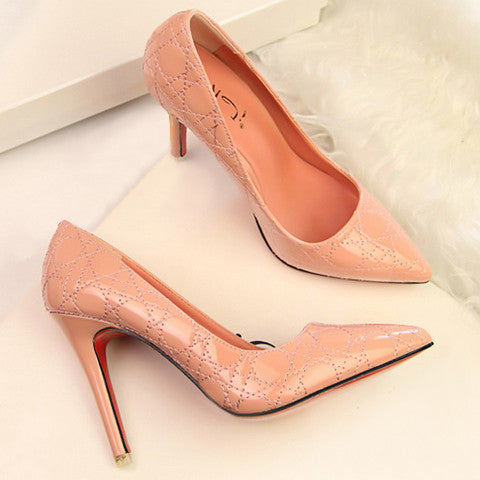 Office Style Women's Pumps With Solid Color and Stitching Design