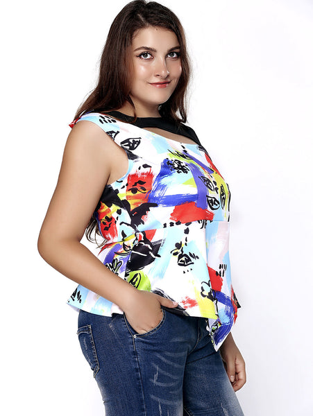 Stylish Plus Size Printed Cut Out Asymmetric Top For Women
