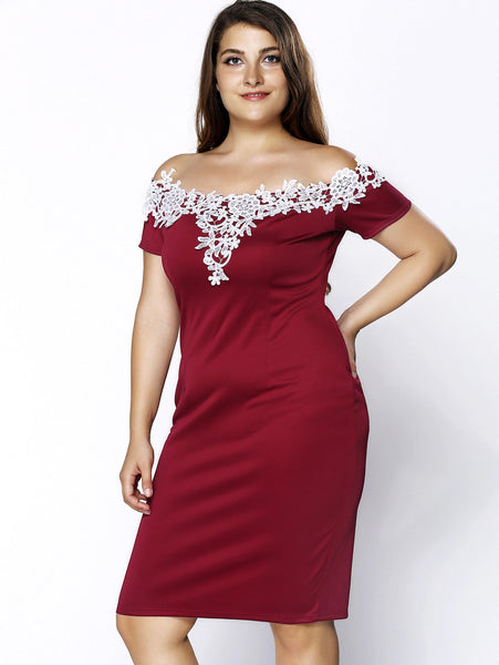 Stylish Plus Size Crochet Off The Shoulder Short Sleeve Dress For Women