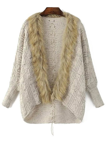 Long Sleeve Faux Fur Cape Cardigan
