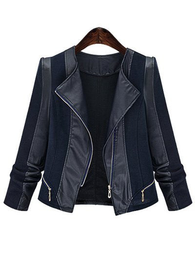 Plus Size Chic Zipped Leather Patchwork Women's Jacket