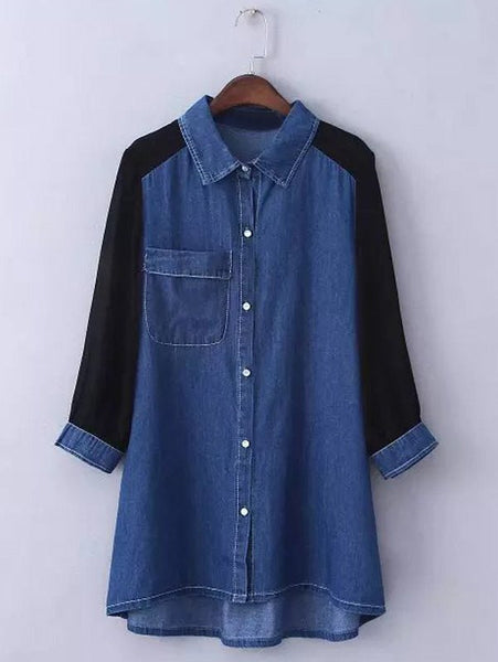 Plus Size Trendy Chiffon Sleeve Denim Shirt For Women