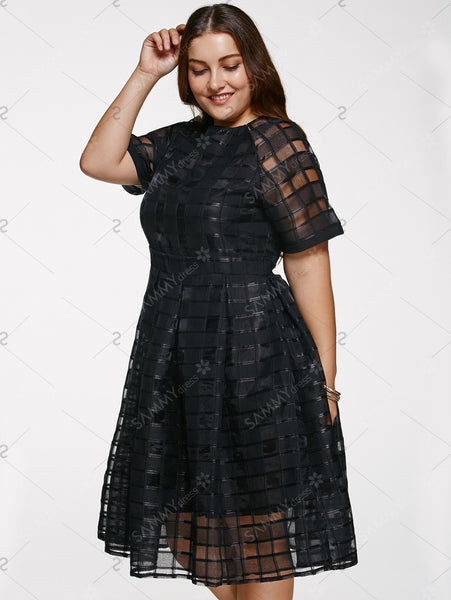 Chic Round Neck Plus Size See-Through Dress For Women