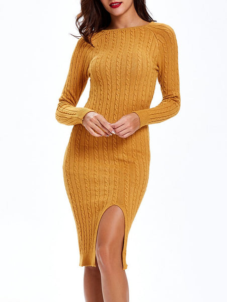 Textured Side-Slit Sweater Dress
