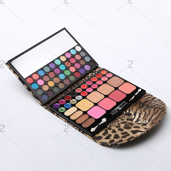 Cosmetic 72 Colours Eye Shadow Blusher Bronzing Powder Lip Gloss Makeup Set Palette with Mirror and Brushes