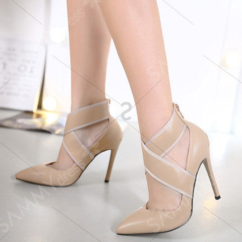 Back Zip Cross-Strap Pointed Toe Pumps