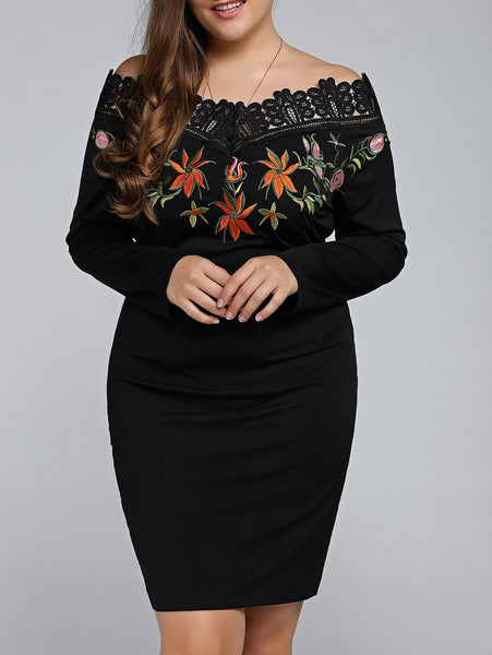 Off The Shoulder Embroidered Plus Size Mini Dress