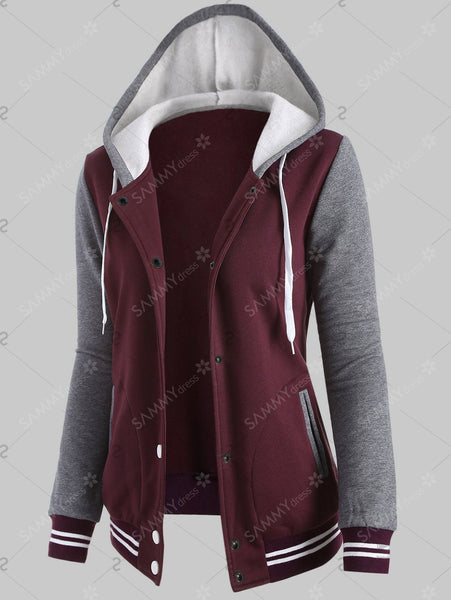 Plus Size Varsity Baseball Fleece Sweatshirt Jacket