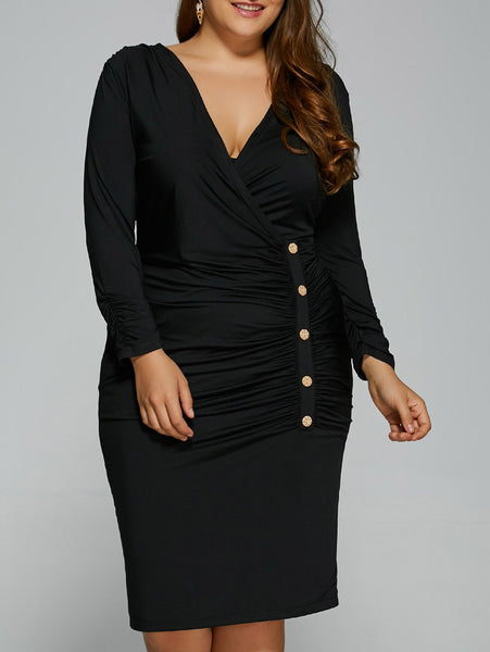 Plus Size Button Surplice Dress