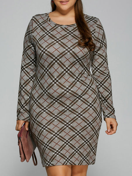 Slimming Plaid Plus Size Tee Dress