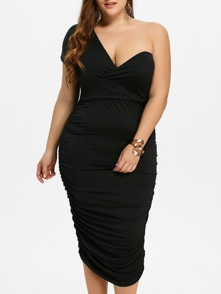 Plus Size Ruched One Shoulder Bodycon Dress