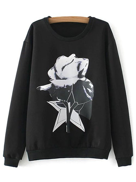 Casual Plus Size Printed Sweatshirt
