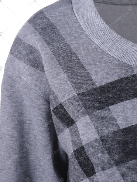 Plus Size Crew Neck Plaid Sweatshirt