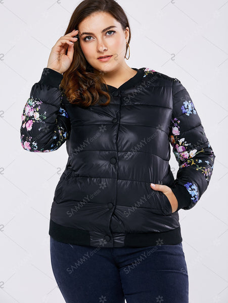 Plus Size Floral Padded Coat