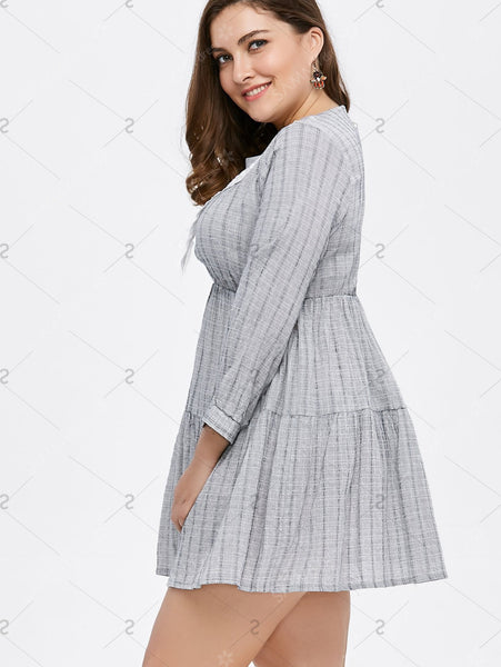 Plus Size Lace Panel Plaid Smock Dress