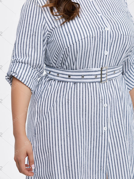 Plus Size Button Up Belted Striped Dress