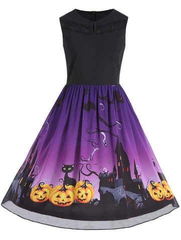Plus Size Sleeveless Halloween Pumpkin Print Dress