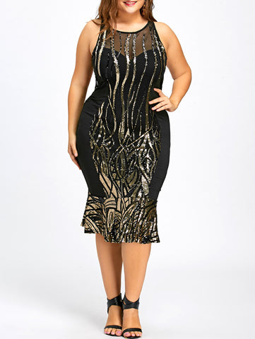 Sequin Plus Size Mermaid Bodycon Dress